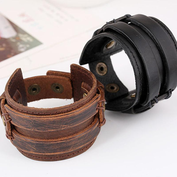 Men's Vintage Genuine Leather Woven Bracelet