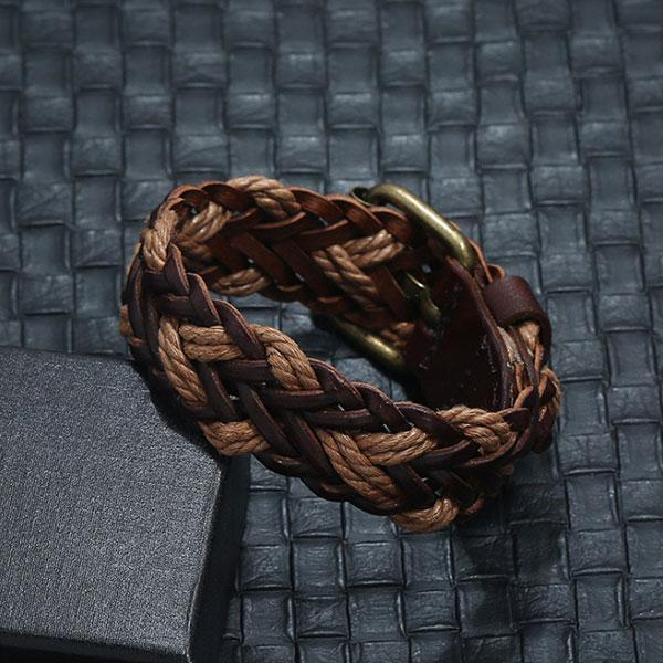 Men's Vintage Woven Leather Bracelet
