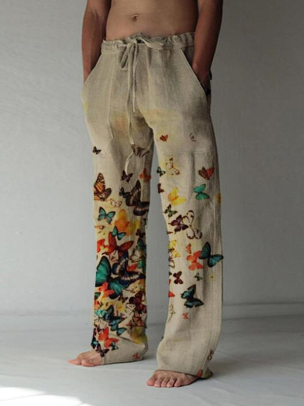 Men's butterfly casual cotton and linen trousers