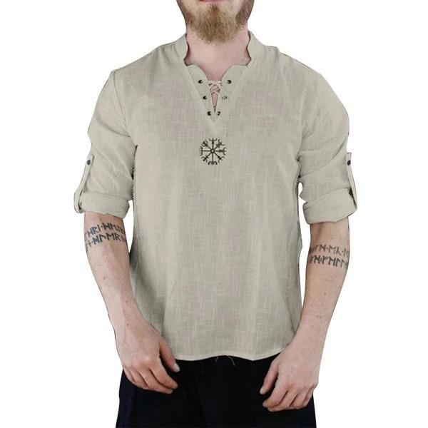White Shirt Men's Lace Up Long Sleeve Shirt Solid Color Tunic Top