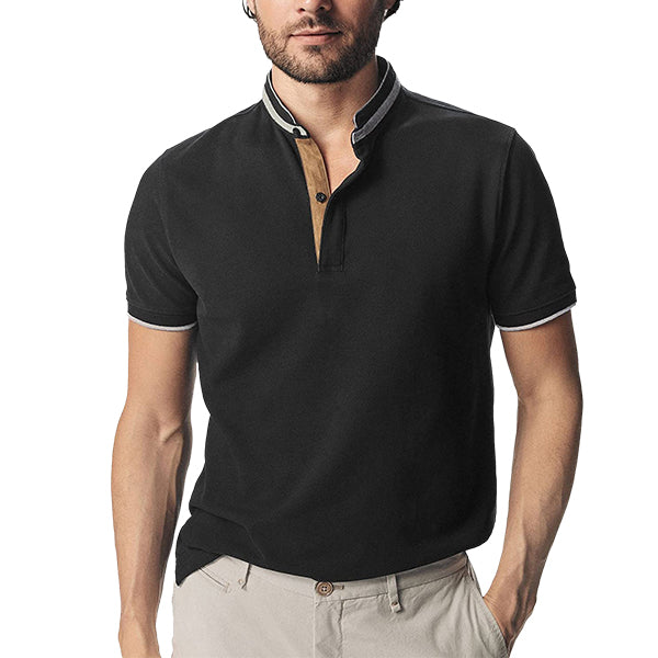 Mens Polo Shirt Short Sleeve V Neck Collar Polo Classic Fit 100% Cotton