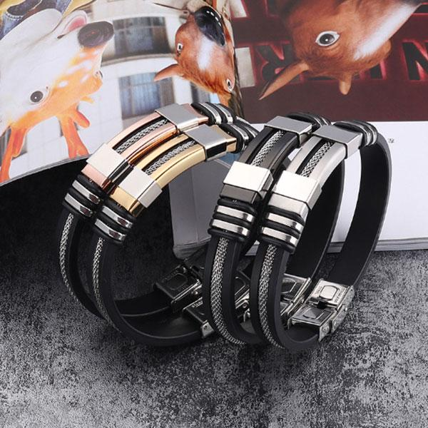 Men's Fashion Adjustable Silicone Titanium Steel Bracelet