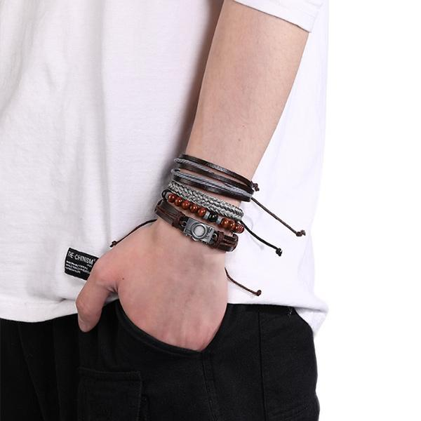 Men's retro style hand-woven leather bracelet