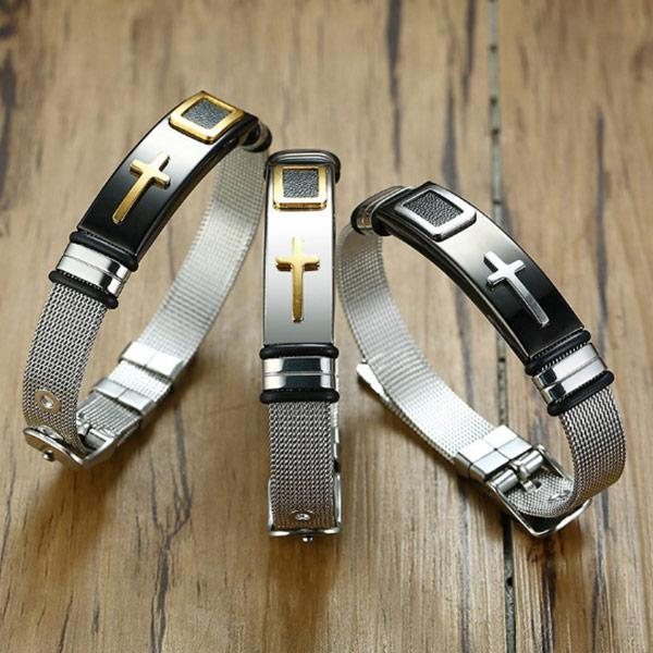 Men's Cross Titanium Steel Bracelet