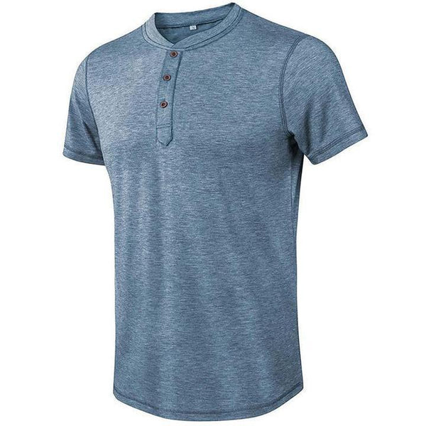 Herren Jacquard Knitted Casual 3 Knöpfe Henley Slim Fit T-Shirt