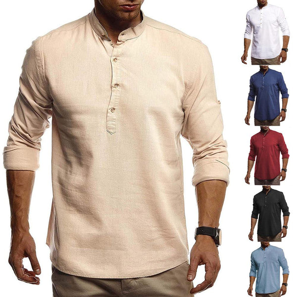 Solid Casual Standing Collar Fall Slim Shirts