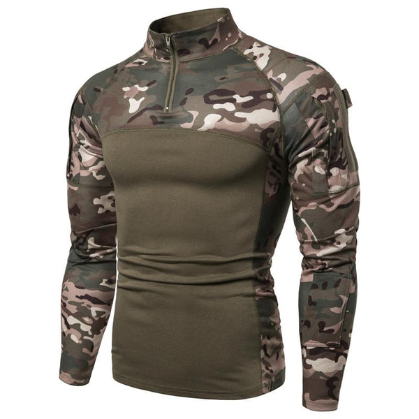 Military style 1/4 zipper long sleeve tactical shirt for men with pockets outdoor activities hunting camping hiking hiking