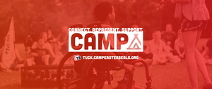 Connect, represent, support camp image - camper in wheelchair at campfire