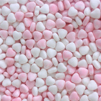 Coated Pink and White Hearts