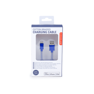 Kikkerland Novelty Blue Chevron Cotton Braided Charging Cable