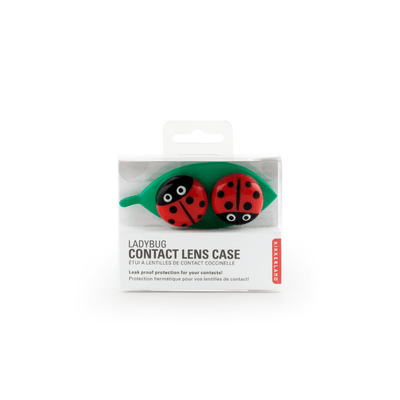Kikkerland Novelty Contact Lens Case Ladybug On Leaf