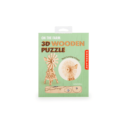 Kikkerland Novelty Windmill 3D Wooden Puzzle