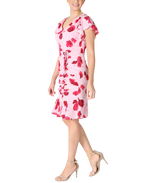 Load image into Gallery viewer, Flutter Sleeve Shirred Skirt Pink Floral