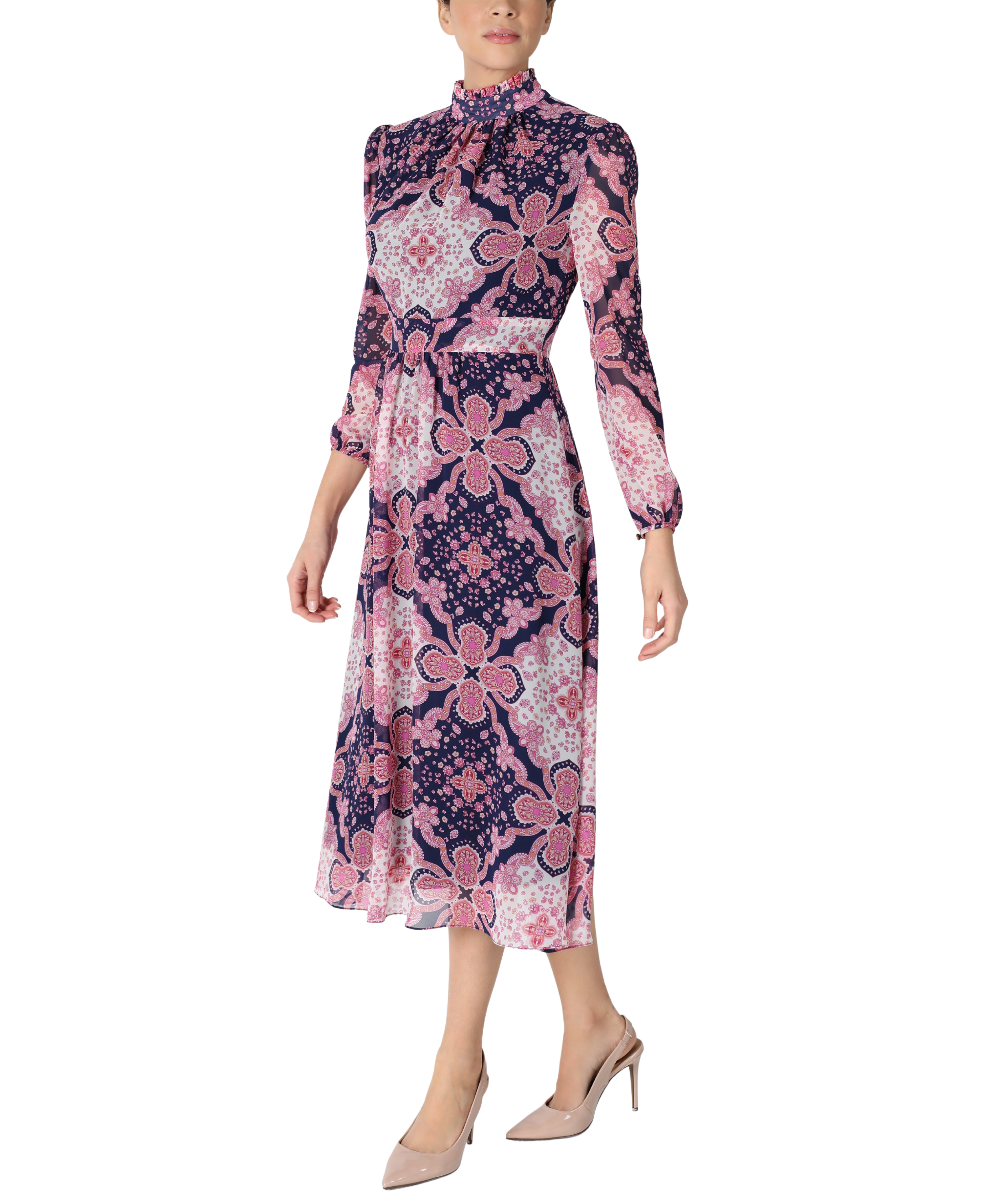 Pleated Mock Neck Long Sleeve Printed Chiffon Midi