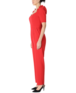 Ruffle Shoulder Short Sleeve Sweetheart Neckline Jumpsuit With Tapered Legs
