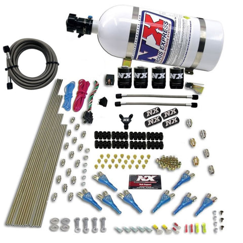 Nitrous Express 8 Cyl Shark Direct Port 4 Solenoids Nitrous Kit (200-600HP) w/10lb Bottle