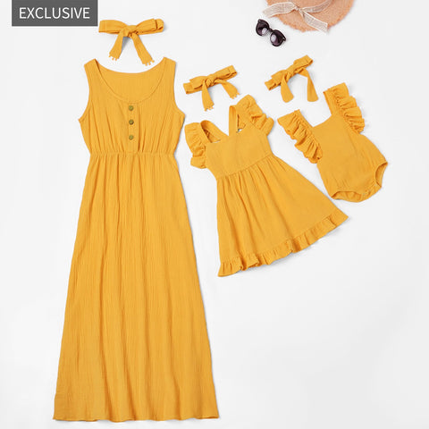 New 100% Cotton Flutter-sleeve Twirl Tank Dresses for Mommy and Me
