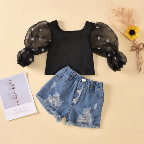 Toddler Girl Stylish Puff-sleeve Top and Shorts Set