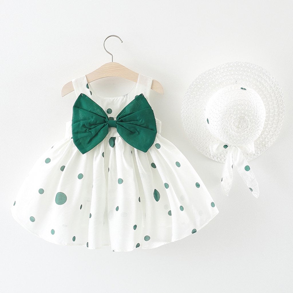 Big Bow Polka Dot Dress with Hat