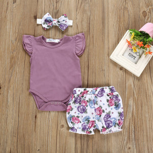 Baby / Toddler Ruffled Bodysuit, Floral Shorts and Headband Set