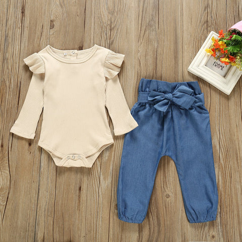 Solid Flutter-sleeve Bodysuit and Bowknot Pants Set