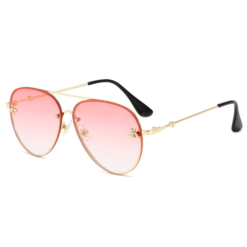 MYKONOS | Gold On Pink/L.Pink Oversized Aviator Sunglasses | Metal Bee