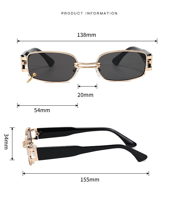 OBSESSION | Leopard/Gold On Brown Rectangular Sunglasses | Chain | Retro