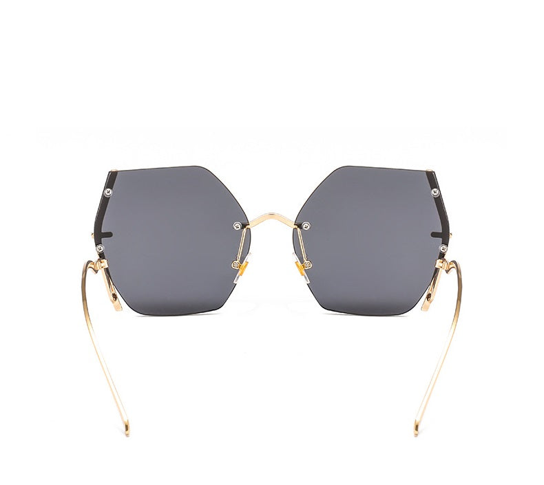 Gold On Black Geometric Oversized Sunglasses