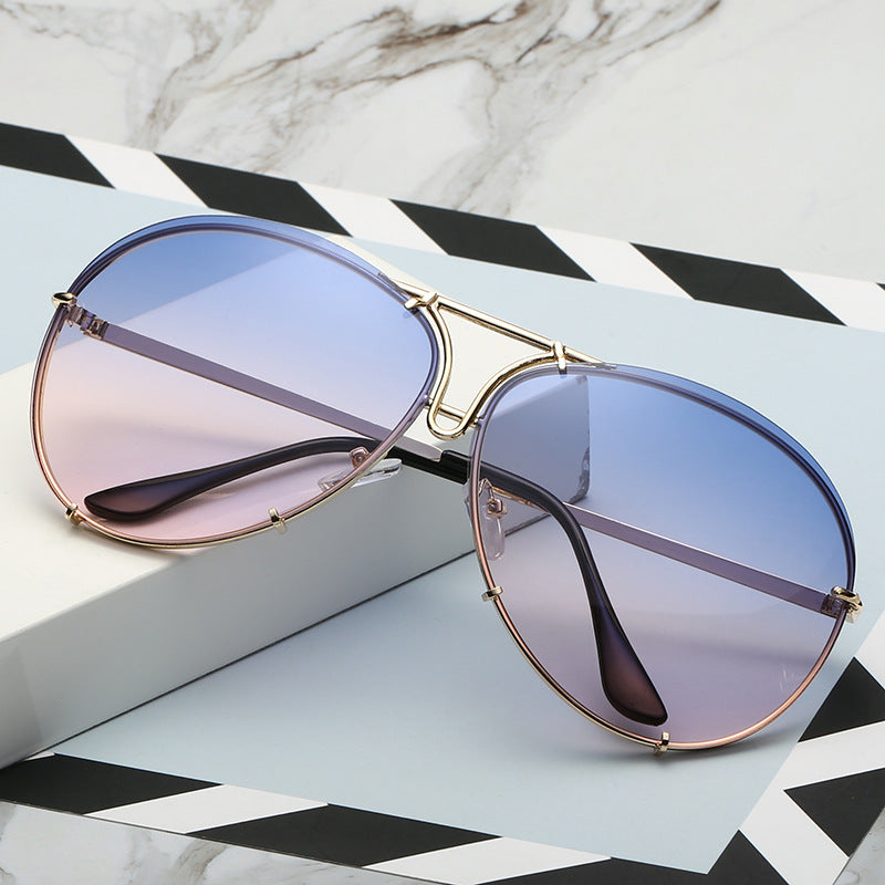 SAVANNAH | Gold on Blue/Lilac Oversized Aviator Sunglasses | Two Tone
