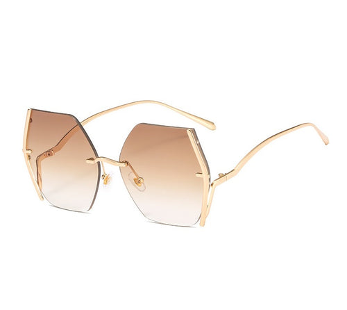 KHALISSI | Gold On D Brown/L Brown Geometric Oversized Sunglasses