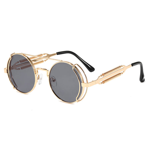 MILAN | Gold On Black Mirror Rounded Sunglasses