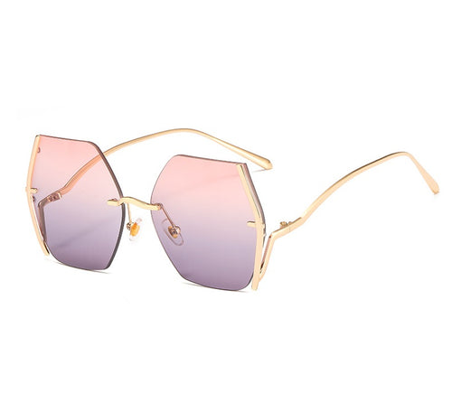 KHALISSI | Gold On Pink/Grey Geometric Oversized Sunglasses