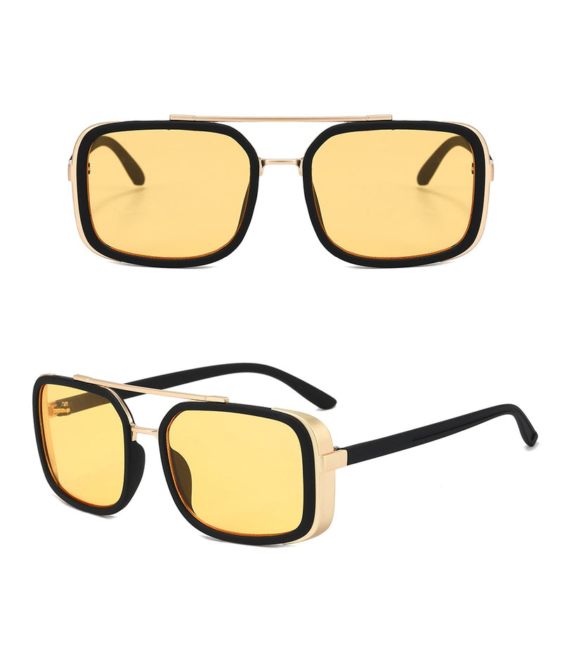 MOSCOW | Black On Black/Yellow Rectangle Oversized Sunglasses