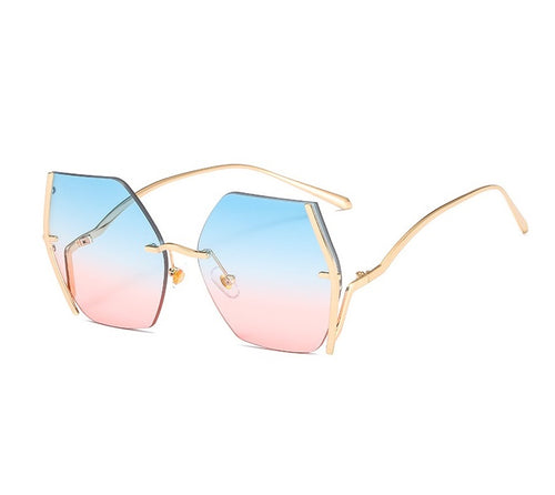 KHALISSI | Gold On Blue/Pink Geometric Oversized Sunglasses