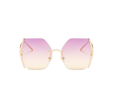 Gold On Pink/Yellow Geometric Oversized Sunglasses