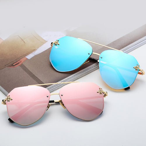 ICONIC | Gold On Sky Blue Mirror Oversized Aviator Sunglasses