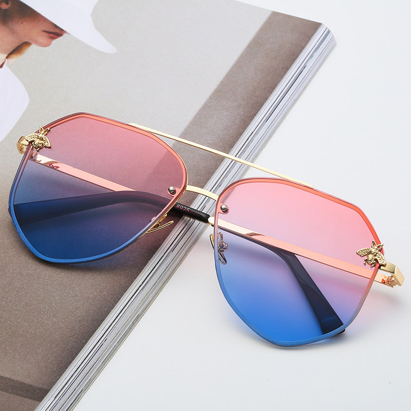 Gold On Pink/Blue Oversized Aviator Sunglasses