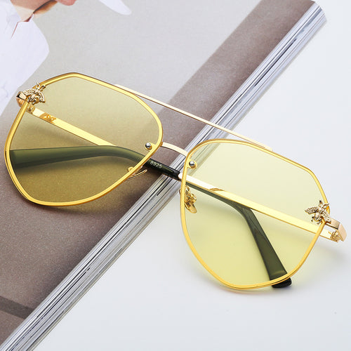 Gold On Smoke Yellow Oversized Aviator Sunglasses
