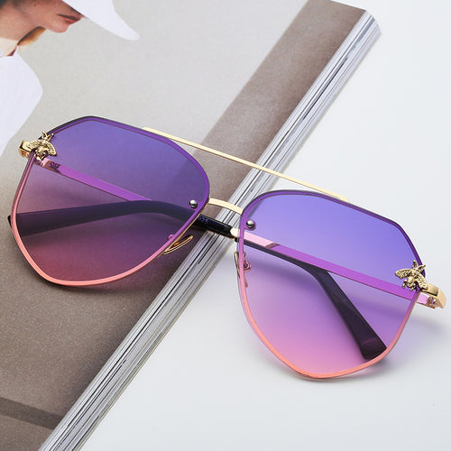 ICONIC | Gold On Purple/Pink Oversized Aviator Sunglasses