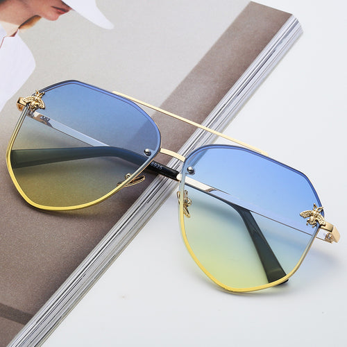 Gold On Blue/Yellow Oversized Aviator Sunglasses