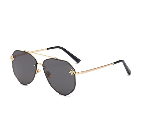 Gold On Black Oversized Aviator Sunglasses