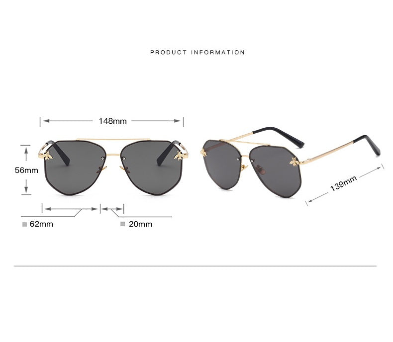 Gold On Blue/Yellow Oversized Aviator Sunglasses | Product Information
