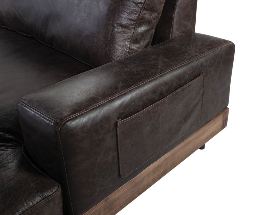 Silchester Oak & Distress Chocolate Top Grain Leather Sofa image