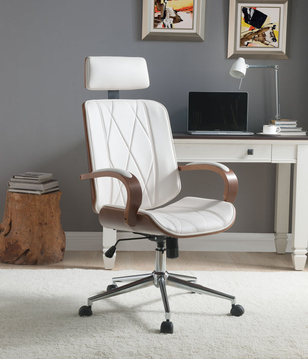 Yoselin White PU & Walnut Office Chair image