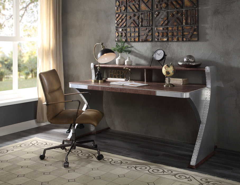 Brancaster Retro Brown Top Grain Leather & Aluminum Desk image