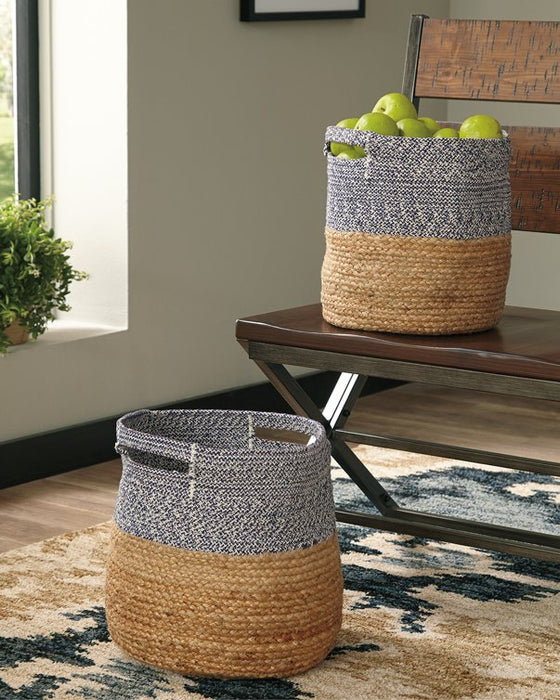 Parrish Signature Design by Ashley NaturalBlue NaturalBlue Basket Set of 2