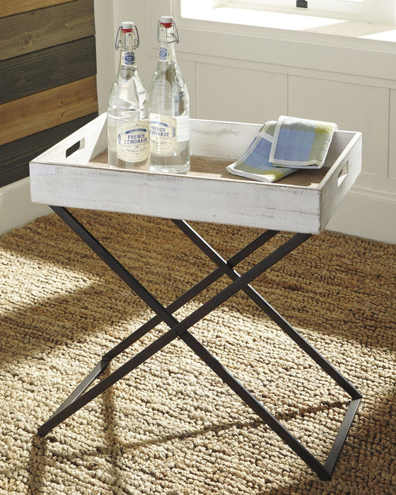 Janfield Signature Design by Ashley Antique White Accent Table