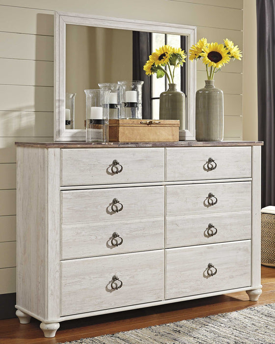 Willowton Signature Design by Ashley Whitewash Dresser and Mirror