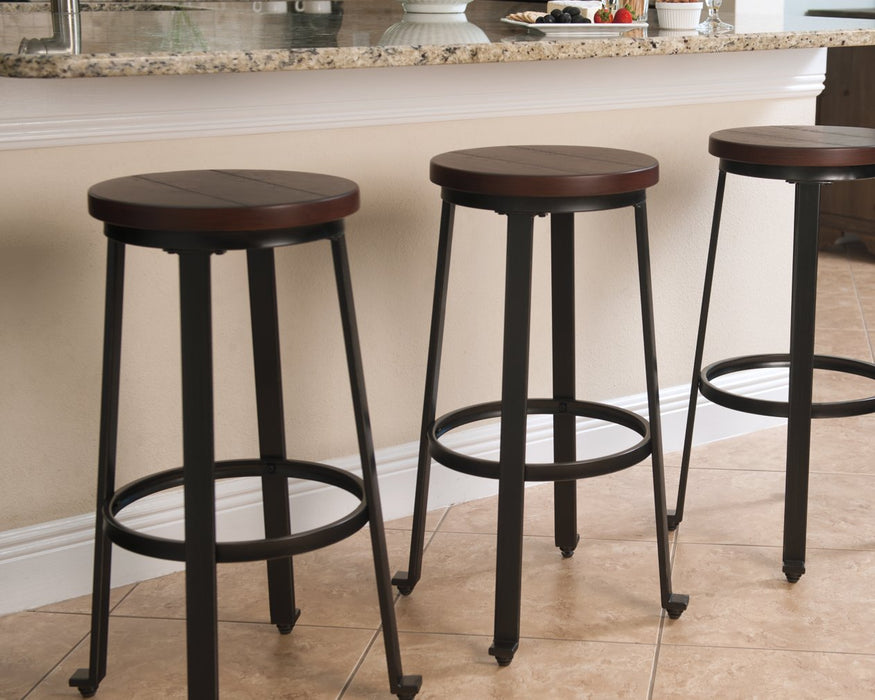Challiman Signature Design by Ashley Rustic Brown Bar Height Bar Stool