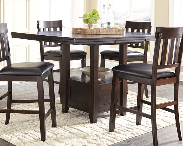 Haddigan Signature Design by Ashley Dark Brown Counter Height Dining Extension Table